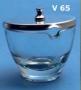 MORTAIO VETRO 10 cm CON COPERCHIO INOX - 1 pz